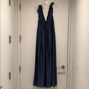 Alice & Olivia Empire Waist Silk Royal Blue Dress